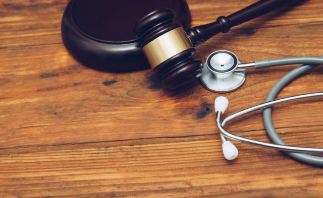 Stethoscope with judge gavel
