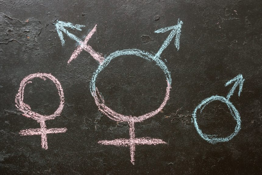male, female and transgender symbol on chalkboard
