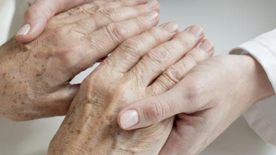 elderly mature old patient hands age spots