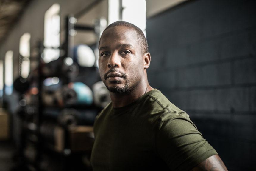 Black African man gym exercise